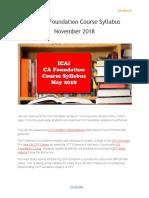 ICAI CA Foundation Course Syllabus November 2018
