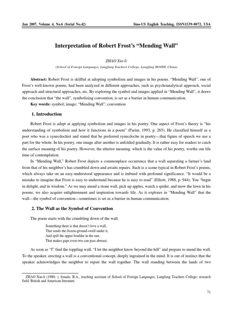 Mending wall essay