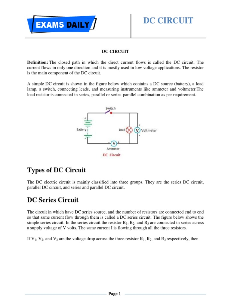 Dc Circuit 1 Series And Parallel Circuits Direct Current Voltage Drop