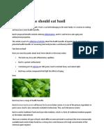 Why Everyone Should Eat Basil
