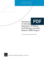 Estimating the Cost of Administering the Department of Defense Small Business Innovation Research