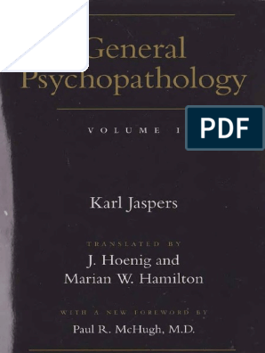 General Psychopatology Vol 1 Jaspers pdf