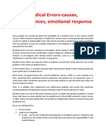 Medical Errors-causes ;Consequences; Emotional Response
