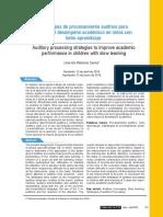 Estrategias de Procesamiento Auditivo Para Mejorar El Desempeno Academico