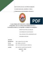 """""""CARACTERIZACIÓN GEOLÓGICA, MINERALÓGICA Y GEOQUIMICA DE LAS ALTERACIONES PRESENTES EN LA CONCESION JULISSA 2A YANAQUIHUA.pdf"""