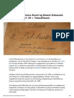 El Filibusterismo Buod Ng Bawat Kabanata 1-39 With Talasalitaan