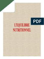01 l'Equilibre Nutritionnel