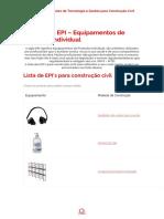 Segurança EPI – Equipamentos de Proteção Individual