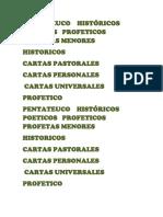 Pentateuco Históricos Poeticos Profeticos Profetas Menores