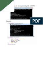 Crear La Base de Datos y Tabla MySQL en PHP