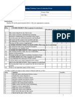 Elearning Course Evalution Form