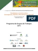 Programa de grupos de trabajo ALASRU 2018