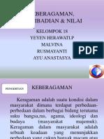 KEBERAGAMAN, KEPRIBADIAN & NILAI