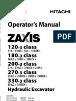 Hitachi 330-3 Class Hydraulic Excavator operator's manual SN052046 and up.pdf