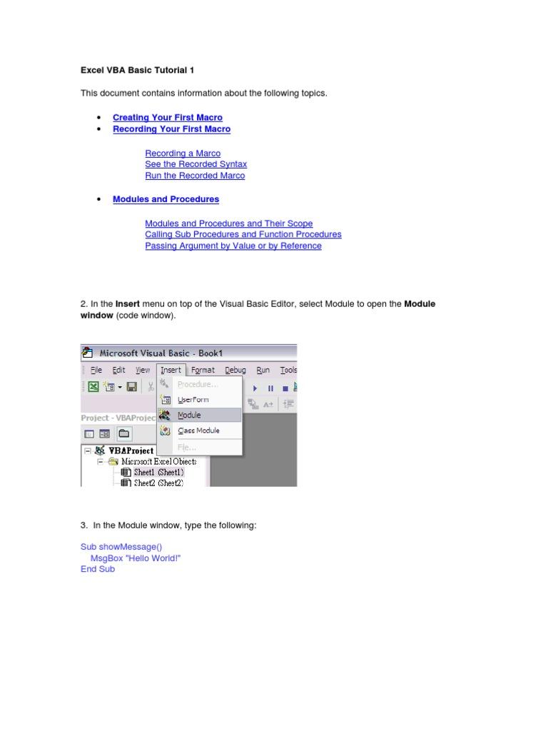 Excel Vba Basic Tutorial 1 Visual Basic For Applications
