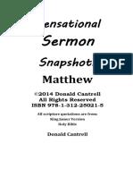 Sensational Sermon Snapshots Matthew