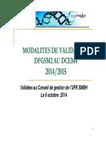 Modalites de Controle Des Connaissance Medecine 2014-2015