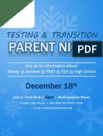 Testing & Transition Parent Night Flyer 2018