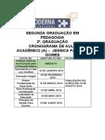 Cronograma _ Segunda Graduao Pedagogia Especial - Jessica Patricia Gomes