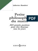 Petite Philosophie Du Matin - Catherine Rambert