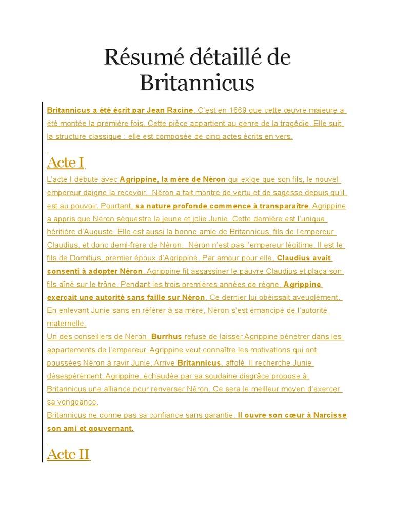 resume britannicus jean racine