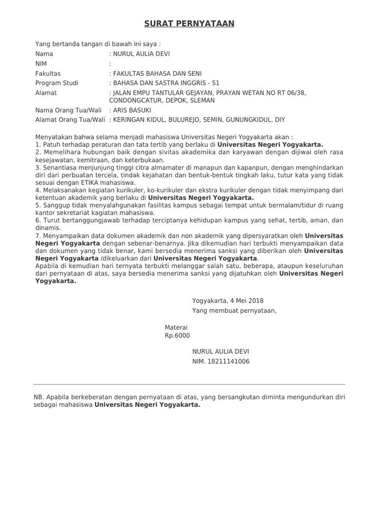 Surat Pernyataan Patuh Terhadap Etika Mahasiswa Uny Contoh Seputar Surat