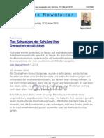 Das Schweigen der Schulen über Deutschenfeindlichkeit stay-free Newsletter  17. Oktober 2010