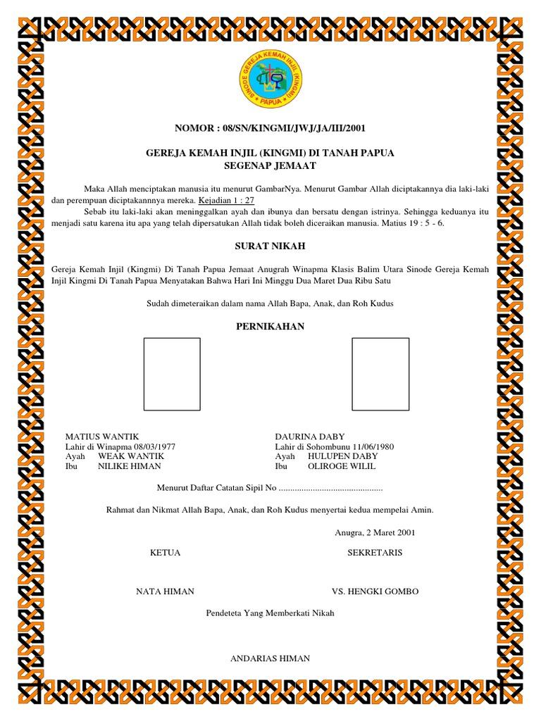 63 Gambar Surat Nikah Gereja HD
