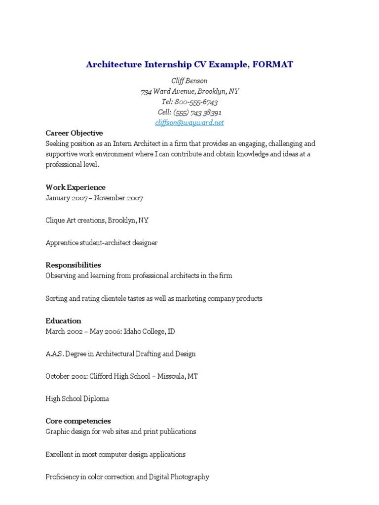 Architecture Internship CV Example