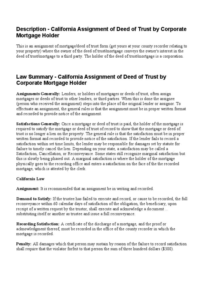 California Assignment Of Deed Of Trust By Corporate Mortgage Holder  LAW  SUMMARY | Deed Of Trust (Real Estate) | Mortgage Law