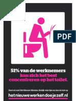 51% van de medewerkers kan zich het beste concentreren op het toilet