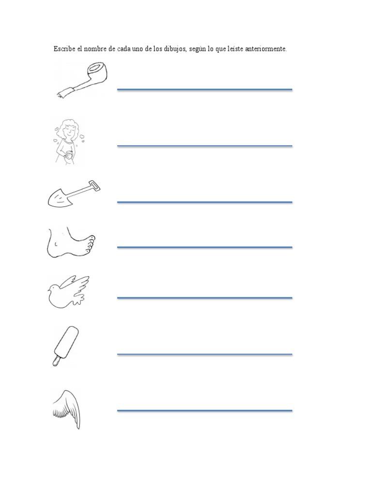 Escribe El Nombre De Cada Uno De Los Dibujosdocx