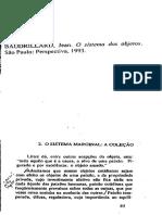 o Sistema Marginal. o Siatema Dos Objetos. Baudrillard, Jean. 1993.