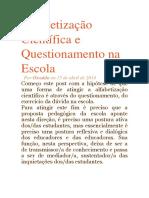 Alfabetização Científica e Questionamento Na Escola