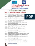 Códigos de Avería GM Genéricos y Específicos