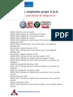 CTA Códigos Originales VAG Grupo
