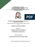 Los Sindicatos en Las Instituciones Del Estado en La Ciudad de San Salvador