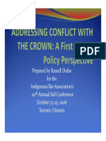 ADDRESSING CONFLICT WITH THE CROWN - A First Nation Policy Perspective