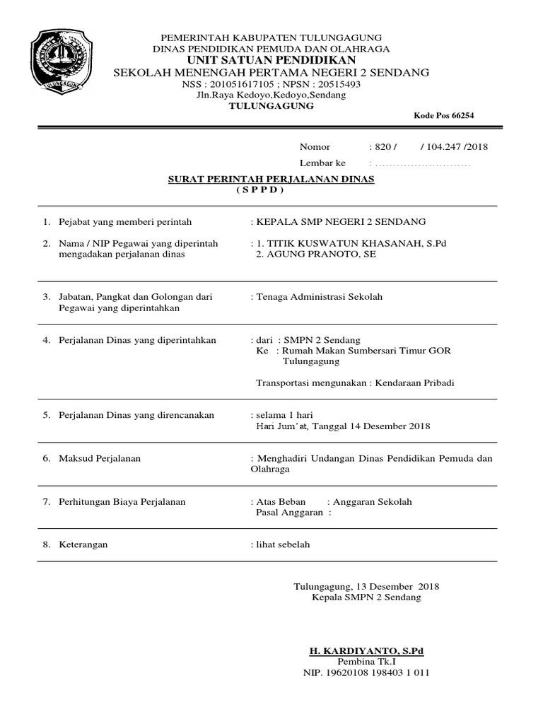 Contoh Surat Dinas Perintah