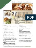 Menu de La Cuisine de Meme Moniq 8 Au 14 Decembre