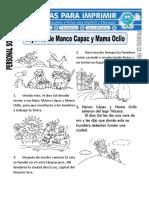 Ficha de Leyenda de Manco Capac y Mama Ocllo Para Primero de Primaria