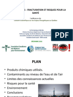 Conférence du Dr Éric Notebaert à propos de la fracturation hydraulique et des risques pour la santé