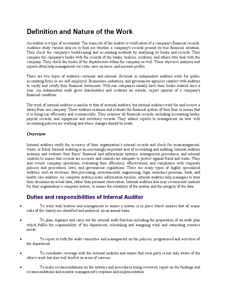 duties and responsibilities of internal auditor