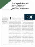 Originating Collateralized Debt Obligations for Balance Sheet Management