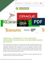 Tipos de Bases de Datos y Las Mejores Bases de Datos Del 2016