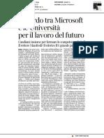 Accordo tra Microsoft e le università per  il lavoro del futuro - Il Corriere della Sera del 16 dicembre 2018