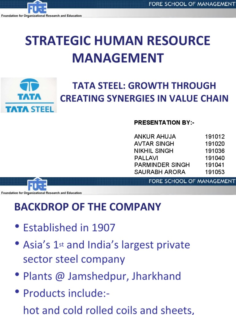 tata steel group strategic capabilities Tata steel has now entered into discussions with strategic players in the steel  group executive director and tata steel's  of capabilities to.