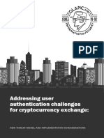 Addressing user authentication challenges for cryptocurrency exchange