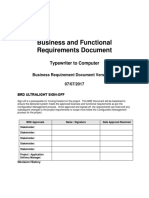 Business and Functional Requirements Document Approved Baselined