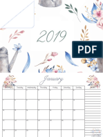 O32C - 2019 Floral Monthly Calendar (A5)